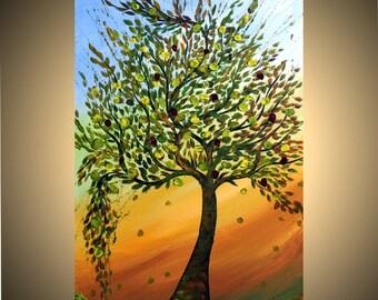 TREE at Sunset Original Modern Abstract Landscape Large Painting by Luiza Vizoli