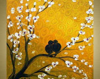Original Birds Tree Flowers Landscape Painting WHISPERING LOVE 30x30