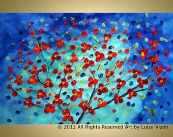 sale RED Cherry Blossom Oil Painting Original Handpainted Modern Tree landscape Palette Knife Large Painting on Canvas