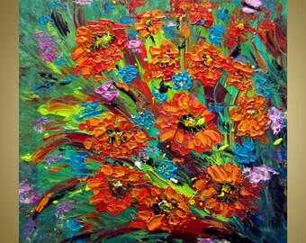 Orange Dahlia Flowers Original Modern Impressionist Impasto Oil Floral Painting by Luiza Vizoli