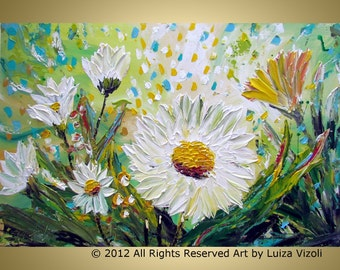 CHAMOMILE FLOWERS Original Modern Textured Palette Impasto Oil Painting by Luiza Vizoli