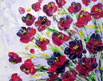 Original Modern Impressionist Flowers Oil Painting Fine Art by Luiza Vizoli
