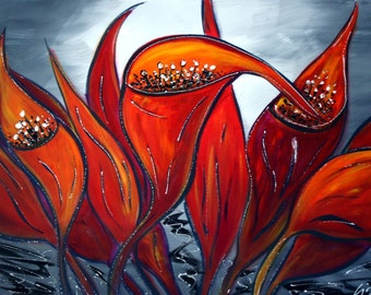 Original Oil Flowers HUGE Painting on Canvas by Luiza Vizoli RED Calla Lilies 64x36
