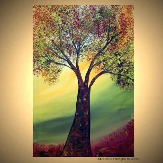 SALE Original Modern Contemporary Landscape Oil Acrylic Large Painting by Luiza Vizoli FALL TREE 24x36