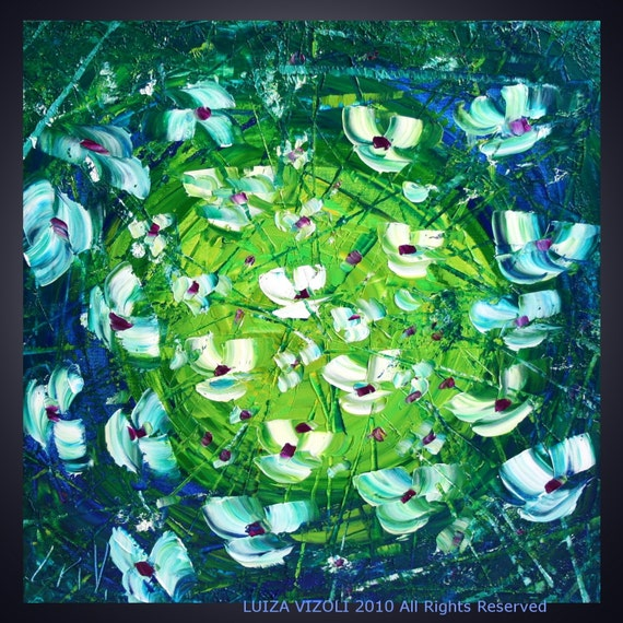 sale WHITE BLUE GREEN Original Modern Flowers Palette Knife Oil Painting on Canvas by Luiza Vizoli
