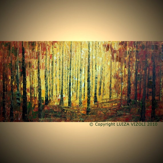 LARGE Original Modern Abstract Palette Knife Impasto Landscape Trees Large Oil Painting FALL Evening by Luiza Vizoli