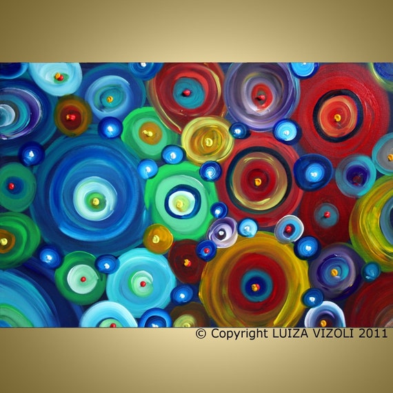 One Day SALE Original Modern Abstract Fantasy Large Oil Painting CIRCLES in MOTION 36X24 by Luiza Vizoli