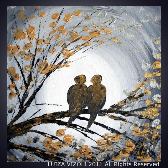 MOON SERENADE Original Modern Abstract Palette Knife Tree Landscape Gold Birds Painting by Luiza Vizoli