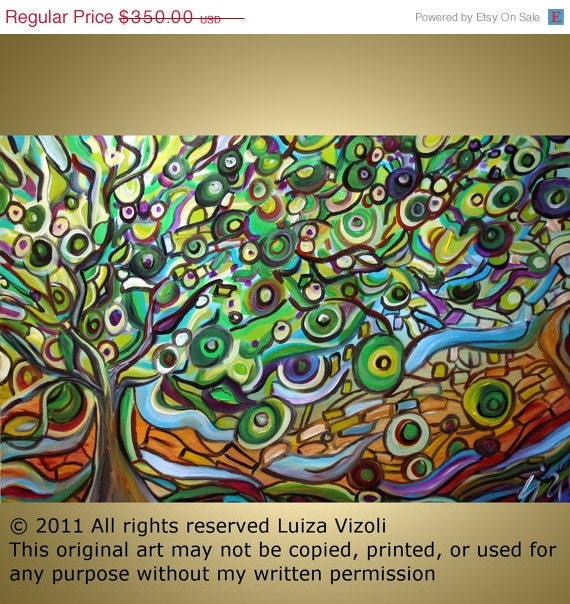 Christmas SALE 15% off Original Modern Abstract Large Landscape Fantasy Painting on Canvas OLIVE TREE by Luiza Vizoli