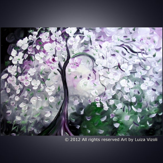 Spring SALE Original Modern Tree Flowers Painting on Large Canvas MAGIC BLOSSOM by Luiza Vizoli