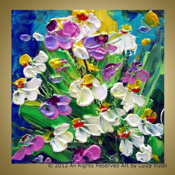 Original Modern Impressionist Oil Painting Flowers Field by Luiza Vizoli