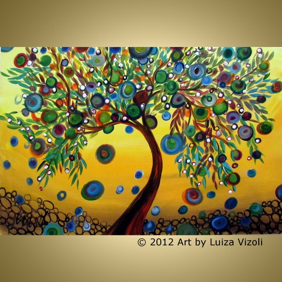 Original Abstract Tree Landscape Painting GREEN OLIVES and White FLOWERS Fantasy Whimsical Artwork