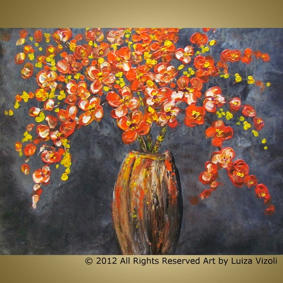 Original Flowers Painting ORANGE BOUQUET on GREY Modern Primitive Art by Luiza Vizoli