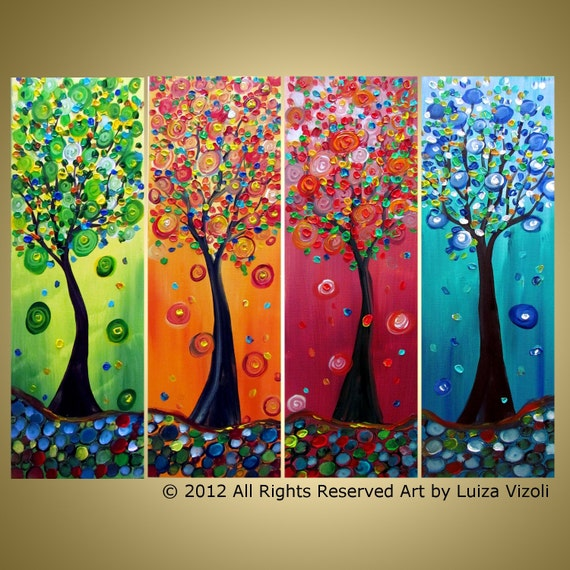 Original art painting whimsical seasons trees large multi for Artist canvas paint color
