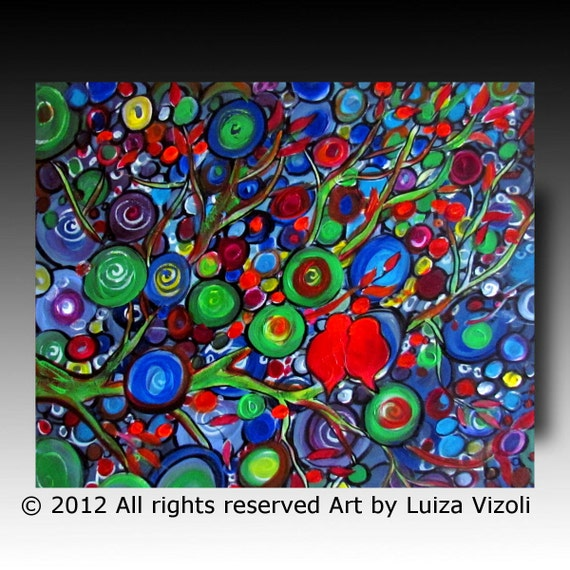 Original Modern Colorful Fantasy Painting on Canvas RED BIRDS at NIGHT by Luiza Vizoli