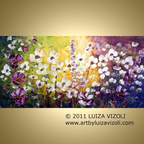 Original FLOWERS Painting Large Modern Palette Impasto Oil Artwork GOOD MORNING by Luiza Vizoli 48x24
