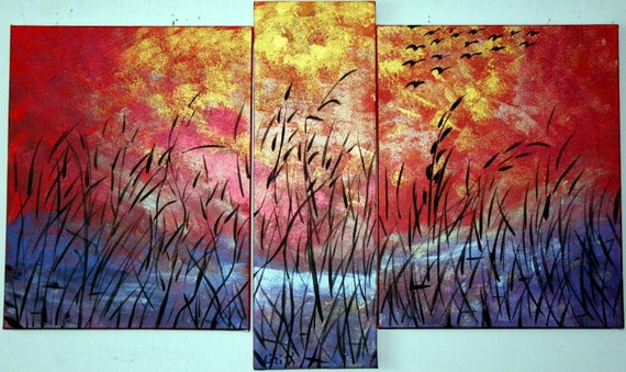 HUGE SALE---3 DAYS---SUNSET OVER the LAKE 40X24 TRIPTYCH ART Oil FX Metallic Pigments on Staple Free Stretched Canvases
