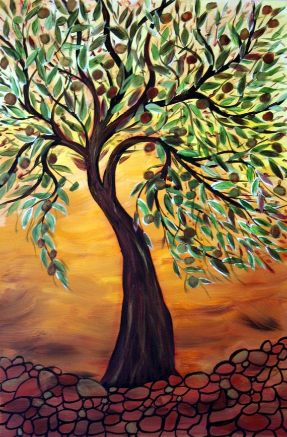 Olive Tree At Sunset 24x36 Original Oil Painting On Stretched