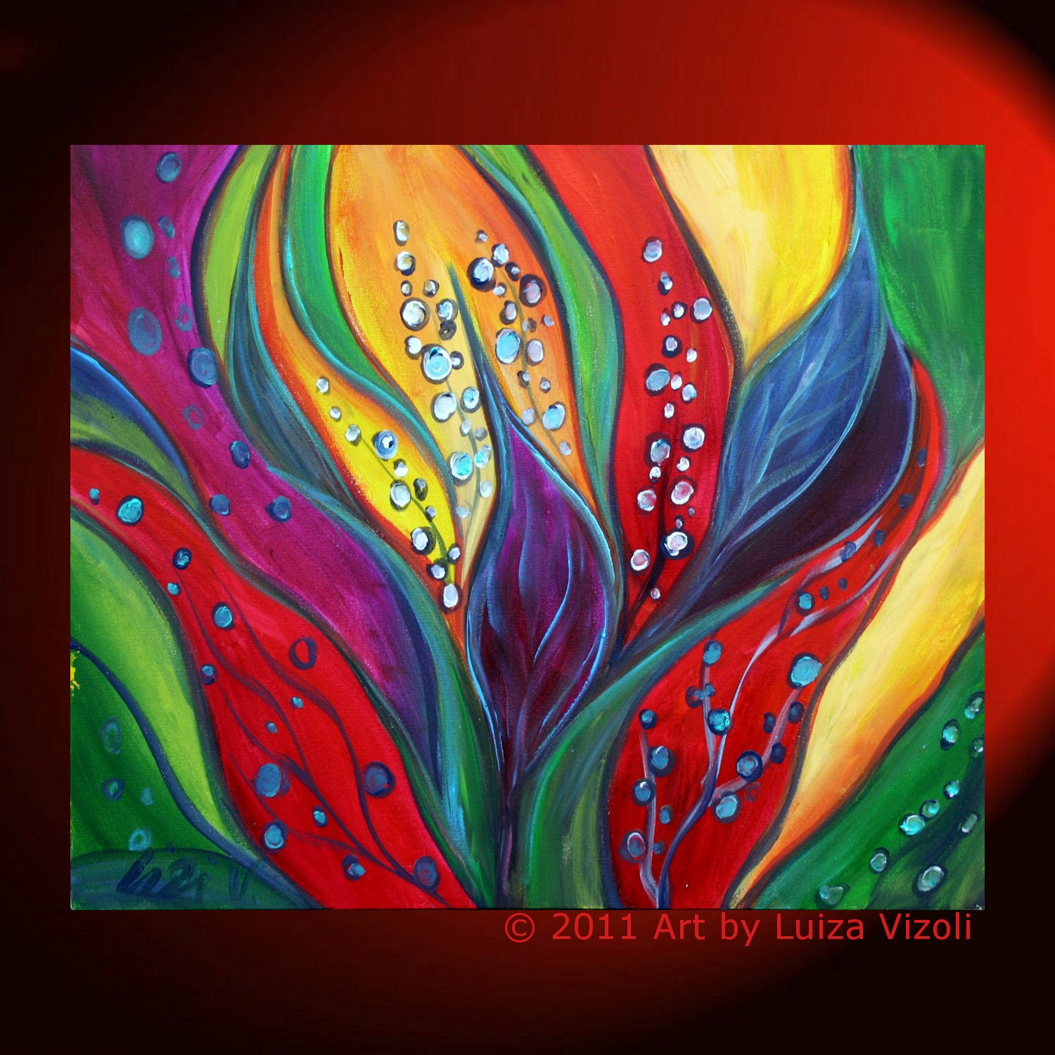 Original modern painting tropical flowers colorful abstract for Modern flower paintings