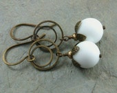 Oxidized Brass White Agate Vintage Style Earrings- Handmade Stellas Perfect Groove