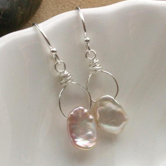 Blush Keishi Pearl Sterling Silver Mini Wrapped Hoop Earrings - Simplicity Handmade