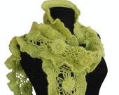 Hand-crochet vitamin frilly scarf , wrap ... ( pear , kiwi , avocado , apple ,lime, cucumber , grape , watermelon , asparagus , citruses ) Fall fashion accessories autumn colors harvest