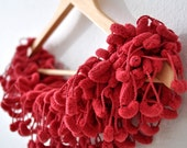 Womens scarf sale. Red Acessories. Scarlet Red Crochet Pompon Scarves - Cardinal Red