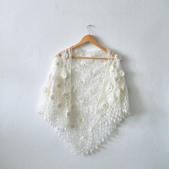 Bridal Shawl. White Shawl. Wedding Shawl. Handmade Crochet ...