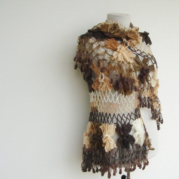 SPECIAL LISTING for Ashley - Big French Flower Mohair Shawl Shades of Brown Tan Taupe Chocolate Ivory Beige Ecru Earth Tones