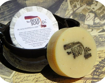 Handmade Soap Gifts For Men - Black Pepper and Lime Beer Soap - Made with Corona Extra American Lager - As Seen In European Car Magazine