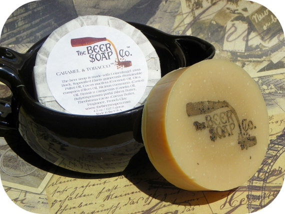 Handmade Soap Gifts For Men - Caramel and Tobacco Beer Soap- Made with Bock Beer