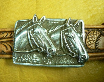 Hand Made Sterling Silver Sand Cast Horse Beltbuckle