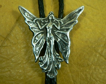 Hand Made Sterling Silver Sand Cast Fairy Womans Bolo, Bola Tie