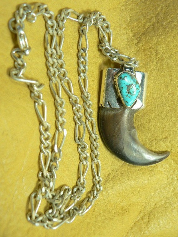 Large Bear Claw Caped with Sterling Silver and Turquoise