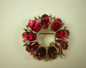 Vintage 1960s Cherry Red Lucite and Goldtone Pin