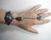 ON HOLD Vintage 1970s Navajo Slave Bracelet Sterling Silver Turquoise Coral