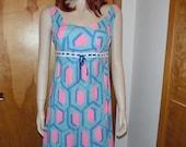 Vintage 1960s Dress Geometric Print Mini Dress Nylon Pink Blue Empire Waist