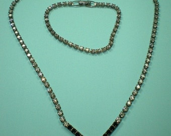 Vintage 50s 60s Rhinestone Necklace and Bracelet Set Sparkly Demi Parure