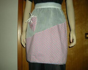 Vintage 1940s Geometric Pattern Apron Cotton and Organza Blue Rik Rak Trim Retro Kitchen Hostess
