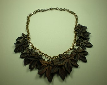 Vintage 1930s Necklace Carved Wood Leaf Art Deco Fringe
