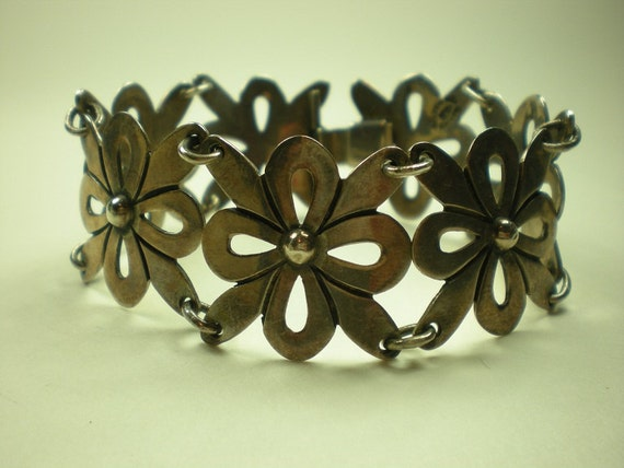 Vintage 1930s 40s Taxco Sterling Silver Bracelet Flowers Mexican Mexico IMP