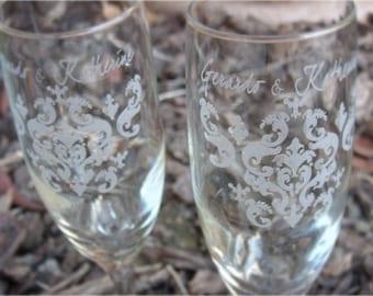 Damask- Engraved Wedding Glass Toasting Flutes