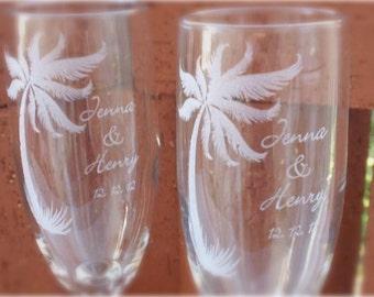 Palm Tree- Engraved Wedding Glass Toasting Flutes