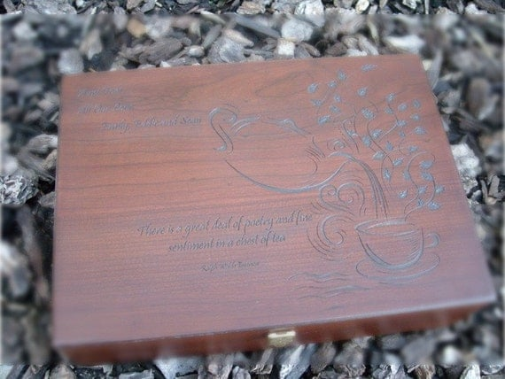 Personalized Engraved Wooden Tea Chest
