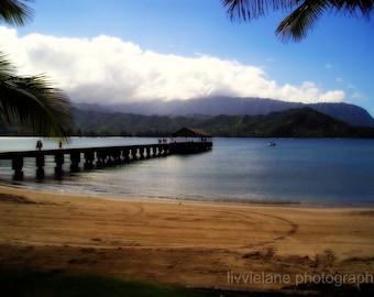 Beach photography - Hanalei Bay - 8 x 10 fine art color photograph - Kauai Hawaii - aqua blue