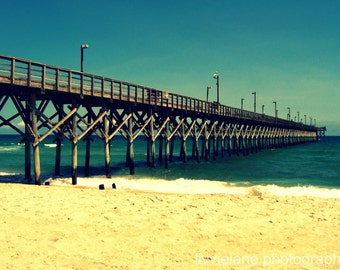 Beach photography - Surf City Pier - 5 x 7 fine art color photograph - teal beige golden yellow