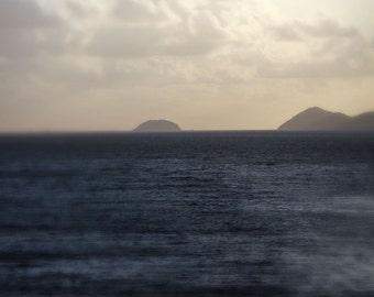 Ocean photograph - Far and Away - 11 x 14 - fine art print - cream beige and navy blue - calm relaxing neutral escape