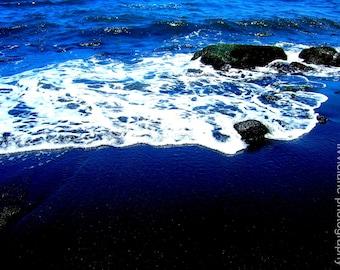 Black Sand Beach - 5 x 7 fine art color photograph - navy cobalt blue black ocean decor