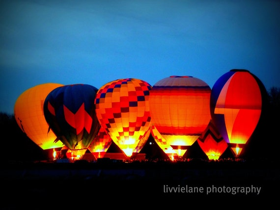 Hot air balloon landscape photography - Balluminaria  No. 1 - 5 x 7 fine art color photograph - red orange blue black