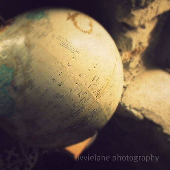 If I Could Travel the World - 5 x 5 fine art color photograph - beige neutral tones